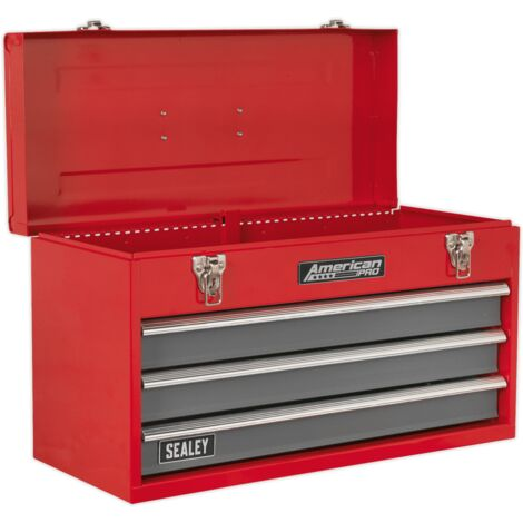 Sealey AP9243BB Tool Chest 3 Drawer Portable with Ball Bearing Slides - Red/Grey