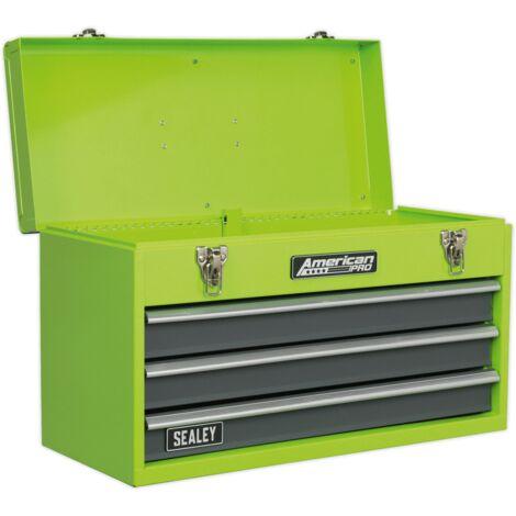 Sealey AP9243BBHV Tool Chest 3 Drawer Portable with Ball Bearing Slides - Hi-Vis Green/Grey
