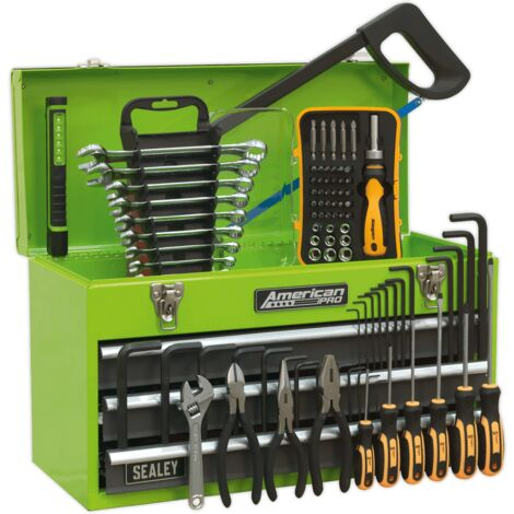 Sealey AP9243BBHVCOM Portable Tool Chest 3 Drawer with Ball Bearing Slides - Hi-Vis & 93pc Tool Kit