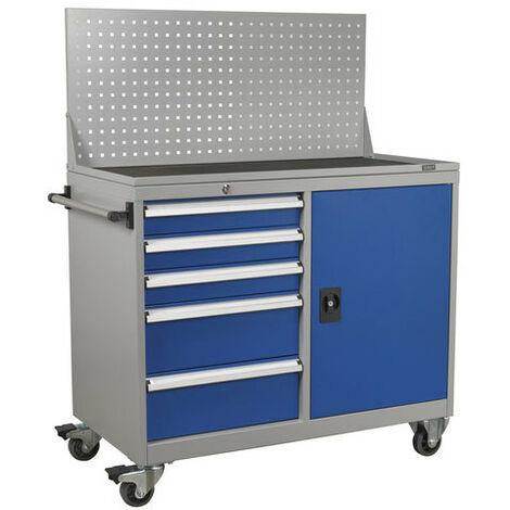 Sealey API1103A 5 Drawer & 1 Shelf Industrial Mobile Workstation