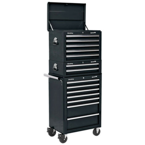 Sealey APSTACKTB Topchest, Mid-Box & Rollcab Combination 14 Drawer with Ball Bearing Slides - Black