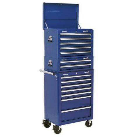 Sealey APSTACKTC Topchest, Mid-Box & Rollcab Combination 14 Drawer with Ball Bearing Slides - Blue