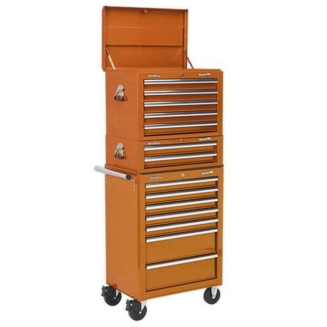 Sealey APSTACKTO Topchest, Mid-Box & Rollcab Combination 14 Drawer with Ball Bearing Slides - Orange