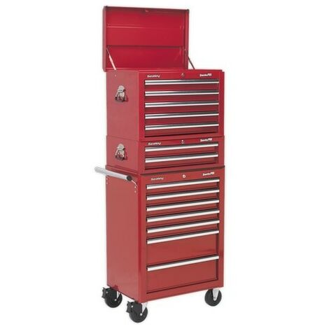 Sealey APSTACKTR Topchest, Mid-Box & Rollcab Combination 14 Drawer with Ball Bearing Slides - Red