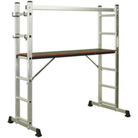 Sealey ASCL2 Aluminium Scaffold Ladder 4-Way EN 131
