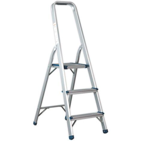 Sealey ASL3S Aluminium Step Ladder 3-Tread EN 131