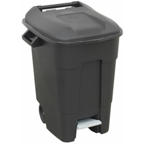Sealey BM100P Refuse/Wheelie Bin with Foot Pedal 100L - Black