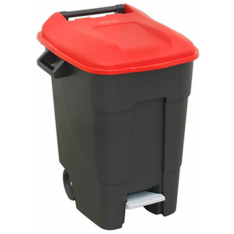 Sealey BM100PR Refuse/Wheelie Bin with Foot Pedal 100L - Red