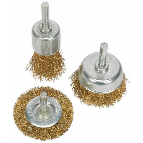 Sealey BWBS03 Wire Brush Set 3pc Brassed