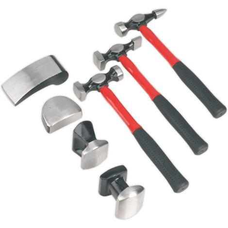Sealey CB707 Panel Beating Set 7pc Drop-forged Fibreglass Shafts