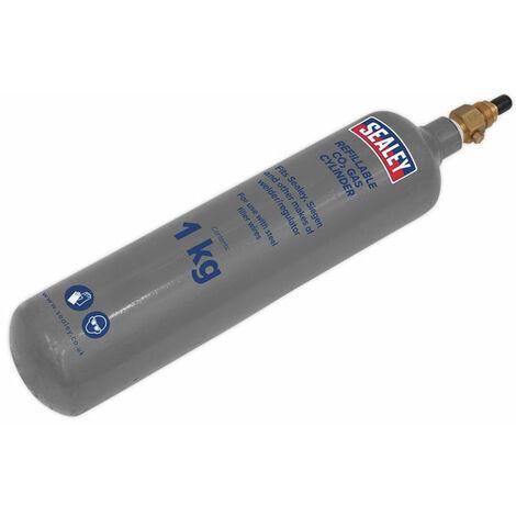 Sealey CO2/1KG Gas Cylinder Refillable Carbon Dioxide 1000g