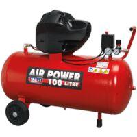 Sealey Compressor 100ltr V-Twin Belt Drive 3hp Oil Free