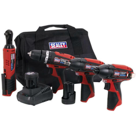 Sealey CP1200COMBO 12V 4PC Tool Combo Kit With 2x1.5Ah Batteries Charger & Bag