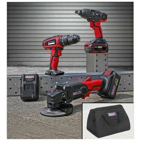 "Sealey CP20VCOMBO1 20V Cordless 13mm Hammer Drill/1/2""Sq Drive Impact Wrench/115mm Angle Grinder Combo Kit"