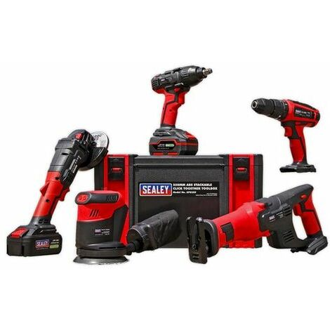 Sealey CP20VCOMBO2 20V Cordless Hammer Drill/Impact Wrench/Angle Grinder/Recipricating Saw Combo Kit