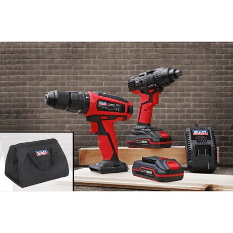 "Sealey CP20VDDCOMBO 20V Cordless 13mm Hammer Drill/1/2""Sq Drive Impact Wrench Combo Kit"