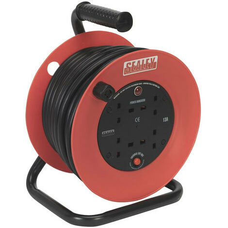 Sealey CR22525 25mtr Heavy-Duty Cable Reel with Thermal Trip - 230V