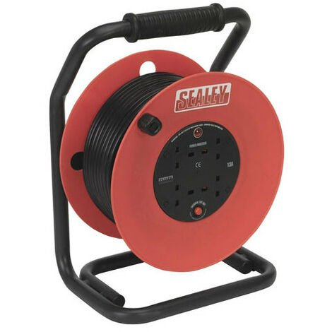 Sealey CR50/1.5 50mtr Heavy-Duty Cable Reel with Thermal Trip - 230V