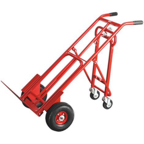 Sealey CST989 Sack Truck 3-in-1 with Pneumatic Tyres 250kg Capacity