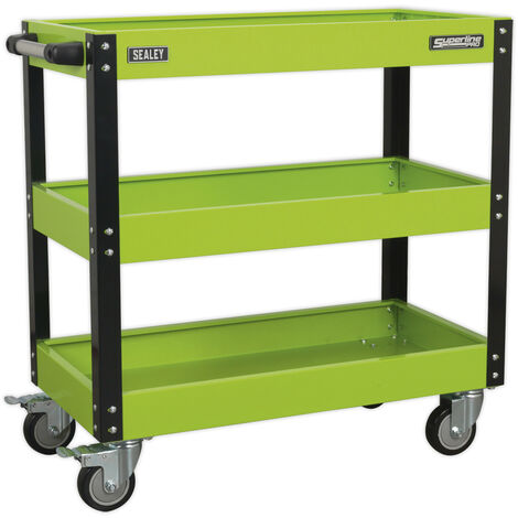 Sealey CX110HV Workshop Trolley 3-Level Heavy-Duty - Hi-Vis Green