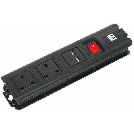 Sealey EL32USBB Extension Cable 3m 2x 230V + 2x USB Sockets - Black