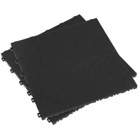Sealey FT3B Polypropylene Floor Tile 400 x 400mm - Black Treadplate - Pack of 9