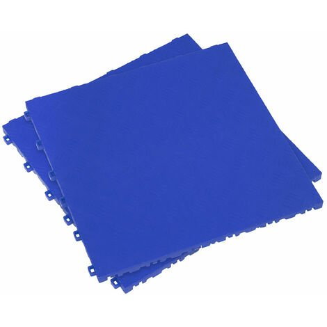 Sealey FT3BL Polypropylene Floor Tile 400 x 400mm - Blue Treadplate - Pack of 9