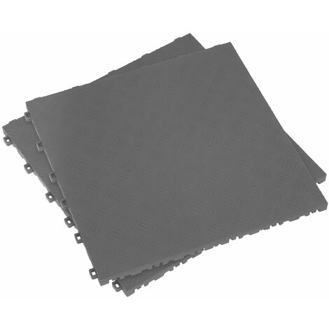 Sealey FT3G Polypropylene Floor Tile 400 x 400mm - Grey Treadplate - Pack of 9