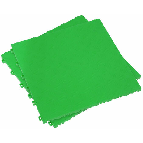 Sealey FT3GR Polypropylene Floor Tile - Green Treadplate 400 x 400mm - Pack of 9