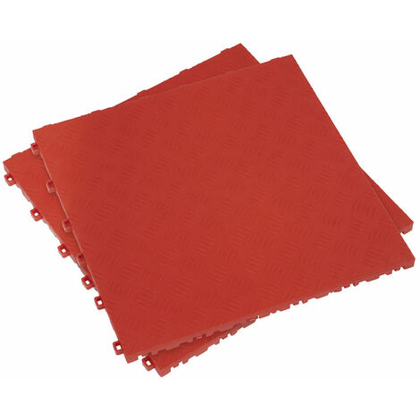 Sealey FT3R Polypropylene Floor Tile 400 x 400mm - Red Treadplate - Pack of 9