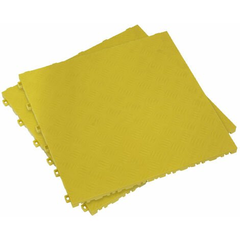 Sealey FT3Y Polypropylene Floor Tile - Yellow Treadplate 400 x 400mm - Pack of 9