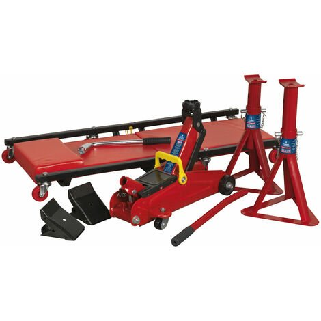 Sealey JKIT01 Lifting Kit 5pc 2tonne (Inc Jack, Axle Stands, Creeper, Chocks)
