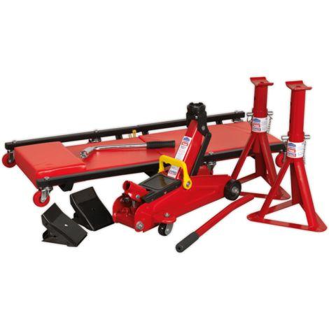 Sealey (JKITO1) Lifting Kit 5pc 2tonne (Inc Jack, Axle Stands, Creeper, Chocks & Wrench)