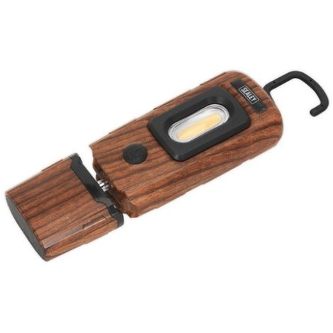 Sealey LED3601WE Rechargeable 360° Inspection Lamp 2W COB + 1W LED Wood Effect