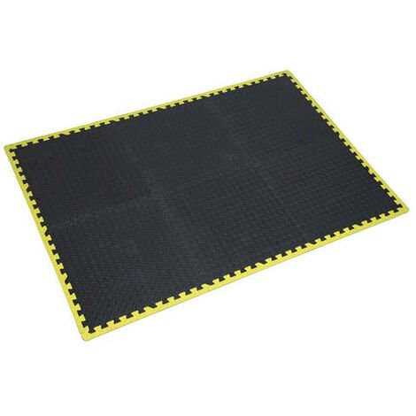 Sealey MIC1218Y3 1240 x 1825mm Interlocking Comfort Workshop Mat Set with Hi-Vis Edges