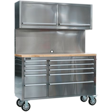 Sealey Mobile Stainless Steel Tool Cabinet 10 Drawer with Backboard & 2 Wall Cupboards