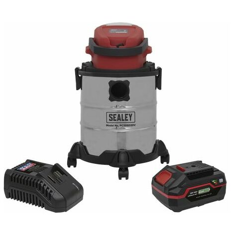 Sealey PC20VCOMBO4 Vacuum Cleaner 20L Wet & Dry Cordless 20V with 4Ah Battery & Charger