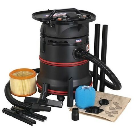Sealey PC35230V Vacuum Cleaner Industrial Wet & Dry 35 Litre 1200W/230V Plastic Drum Class M Fi Litreation Self-Clean Filter & Auto Start