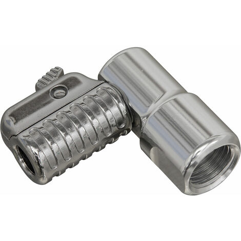 """Sealey PCL6A 90° Angled Swivel Tyre Inflator Clip-On Connector 1/4""""BSP(F)"""