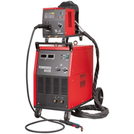 Sealey POWERMIG6035S Professional MIG Welder 350Amp 415V 3ph with Binzel Euro Torch & Portable Wire Drive