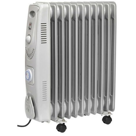 Sealey RD2500T 2500W 11 Element Oil Filled Radiator with Timer