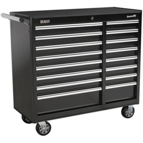 Sealey Rollcab 16 Drawer with Ball Bearing Slides Heavy-Duty - Black