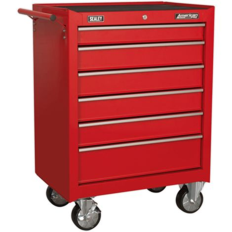 Sealey Rollcab 6 Drawer with Ball Bearing Slides - Red