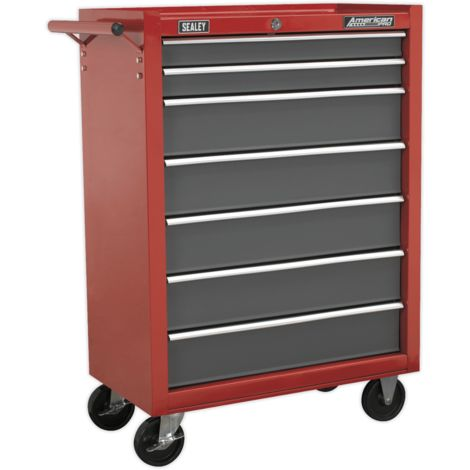 Sealey Rollcab 7 Drawer with Ball Bearing Slides - Red/Grey