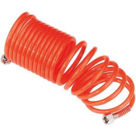 "Sealey SA335 PE Coiled Air Hose 5m x ??5mm with 1/4""BSP Unions"
