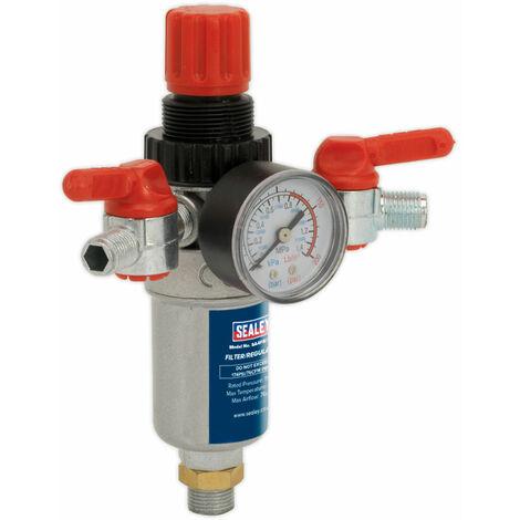 "Sealey SA4FR/38 Air Filter Regulator 3/8""bsp Male - 1/4""bsp Male"