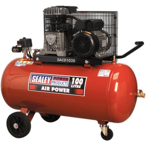 Sealey SAC0102B Compressor 100L Belt Drive 2hp with Cast Cylinders & Wheels