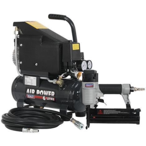 Sealey Sac0610Ekit Air Nail/Staple Gun Kit Including Compressor, Hose & Nailer