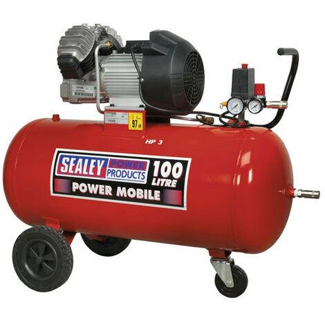 Sealey SAC10030 100ltr V-Twin Direct Drive Compressor 3hp