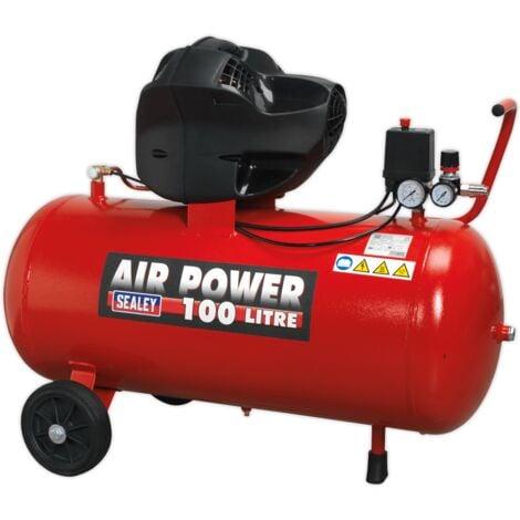 Sealey SAC10030F Compressor 100L V-Twin Belt Drive 3hp Oil Free